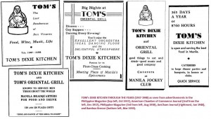 Tom's Dixie Kitchen ads (click to enlarge)