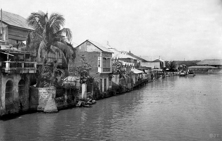 Looking East down the Pasig from the Bridge of Spain c.1900