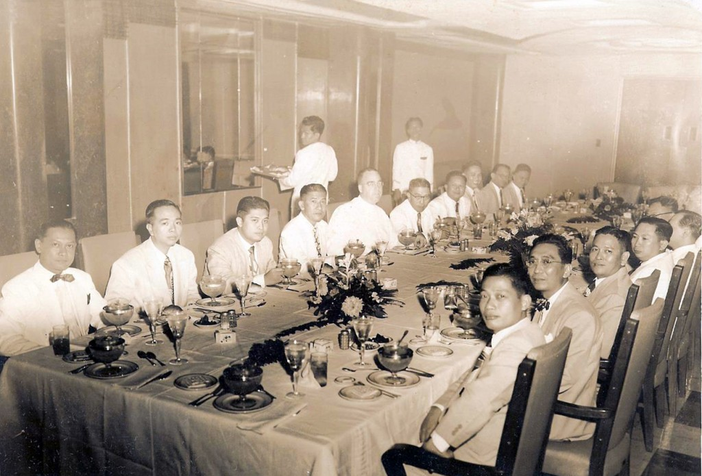 Ateneo Law School faculty in the Skyroom at the Jai Alai with Fr. Masterson - c.1950