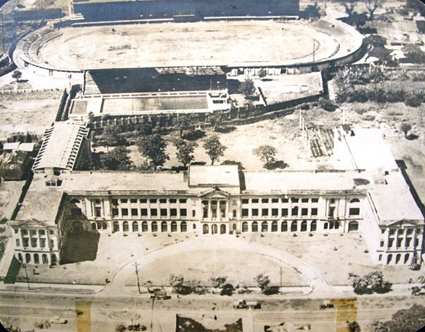 Aerial view of De La Salle and behind it is the Rizal Memorial field.
