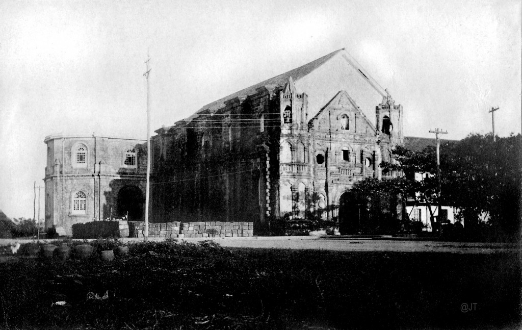 Malate Church under renovation. Note the addition to the roofline.