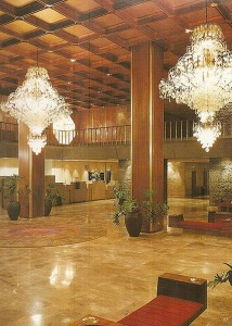 Capiz chandeiers at lobby Hyatt Regency Hotel