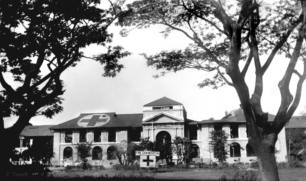 Philippine General Hospital showing roof damage-1945