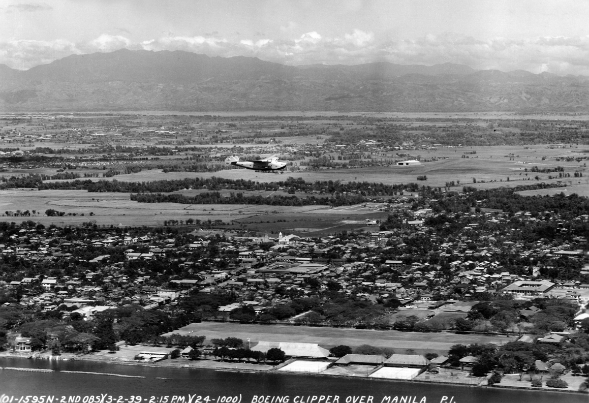 PanAm Clipper over Nielsen Field-1939