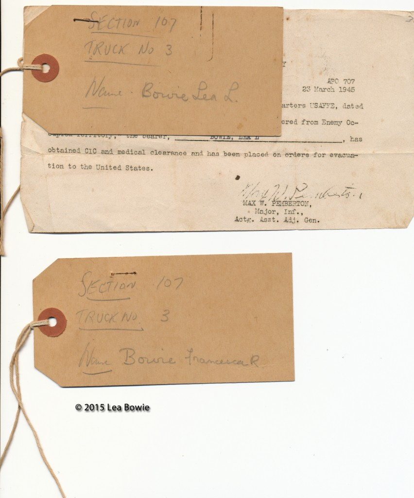 Infant Lea Bowie and mother, Francisca Bowie truck evacuation tickets.