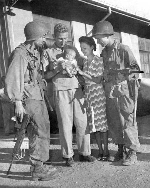 Lea Bowie and parents at Los Baños-1945