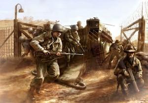 Los Baños liberation painting (www.the fewgoodmen.com)