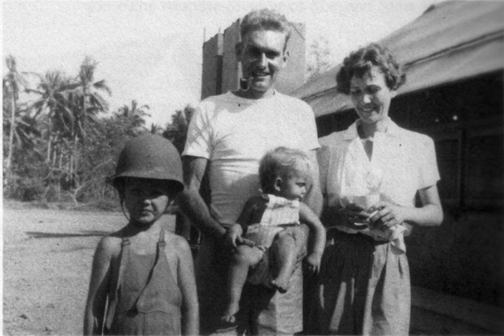 Jerry and Margaret Sams with children David and infant Gerry Ann.
