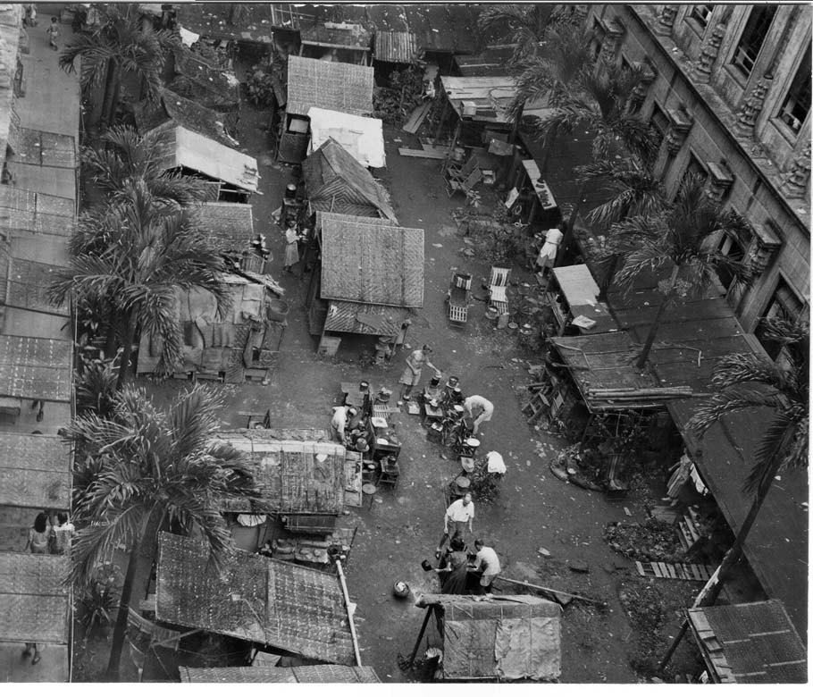 Shanties built by the internees located in the Patio area.