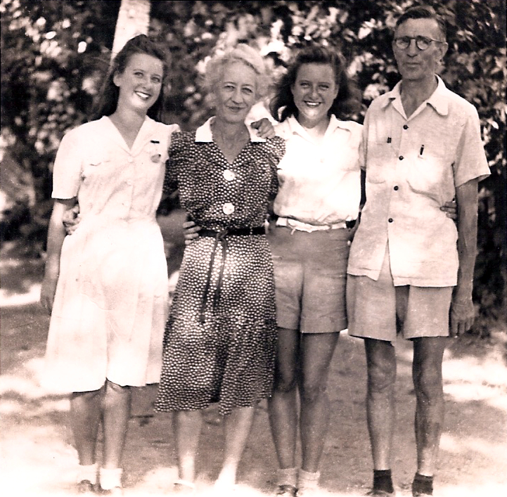 Margaret Whitaker )3rd from left) and her family at liberation. (courtesy Margaret Squires)
