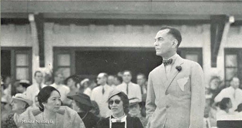 Doña Aurora Quezon, Mrs. Elenita Elizalde and Pres. Quezon watch the 1937 opening day match.