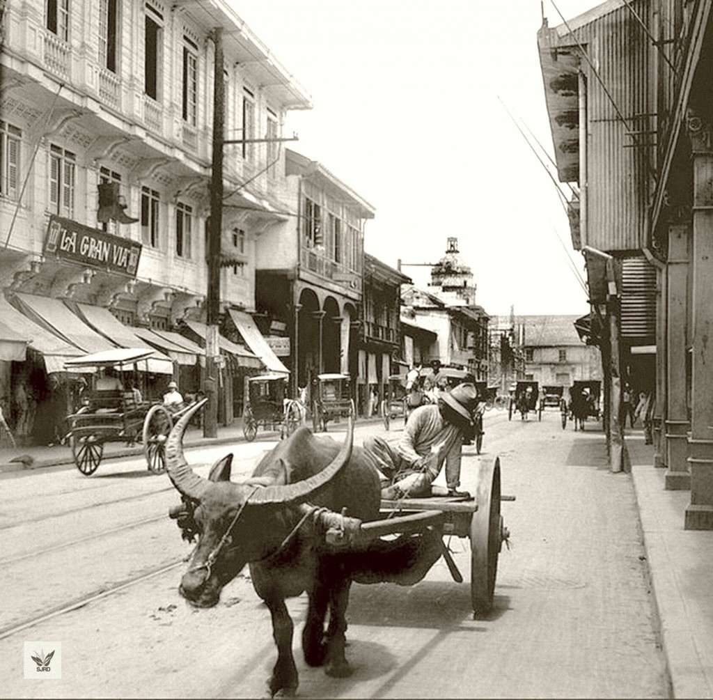 "Typical carabao ""freight"" cart in Binondo (courtesy San Juan Rizal Days)"