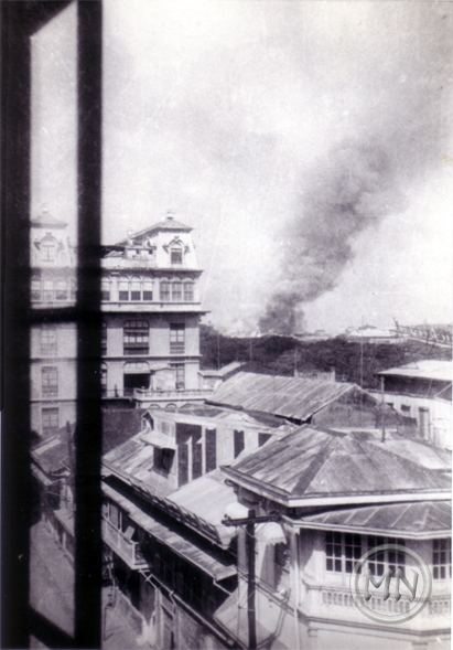 1941 - Manila being bombed view from the Luneta Hotel (courtesy C. Forster)