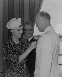 Eisenhower pinned by Mamie as Quezon looks on-1939.