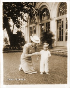 Jean MacArthur and son Arthur at Manila Hotel - Jan 29,1942