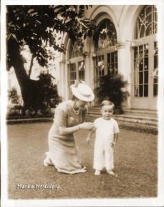 Jean MacArthur and son Arthur at Manila Hotel - Jan 29,1942