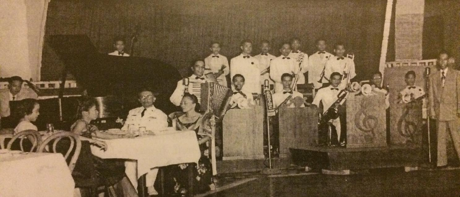 Lito Molina (extreme right) with the College Boys Orchestra-Manila Hotel