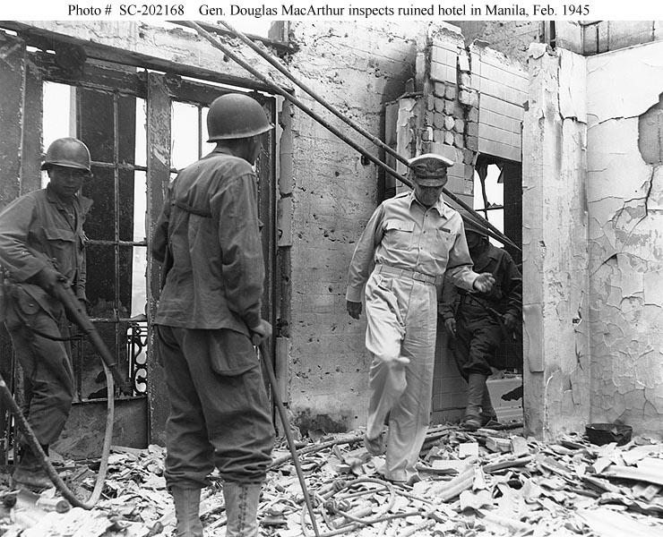 MacArthur visits Manila Hotel ruins Feb 1945