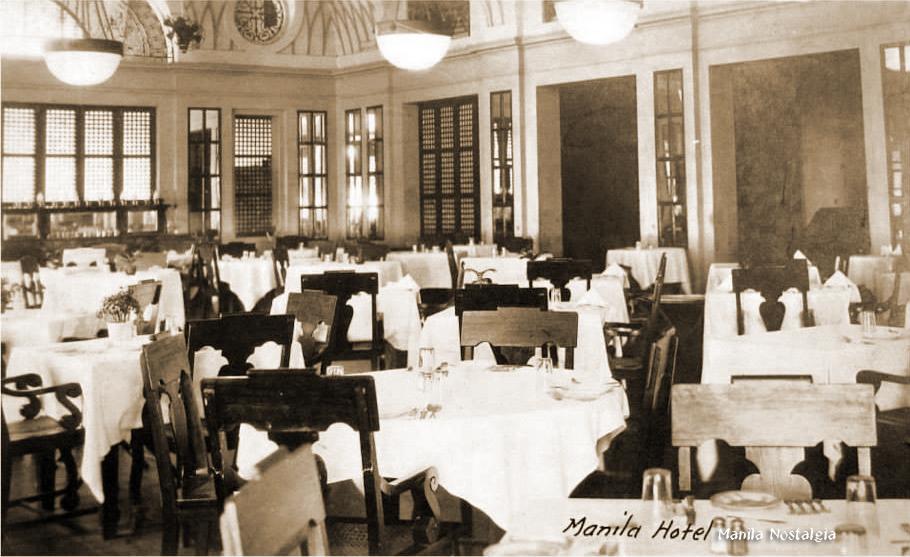 Manila Hotel dining room-1920