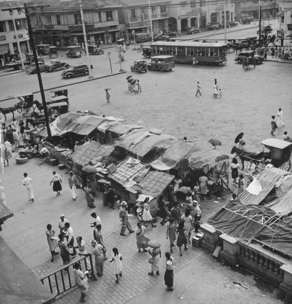 Vendor stalls by Quiapo Church.