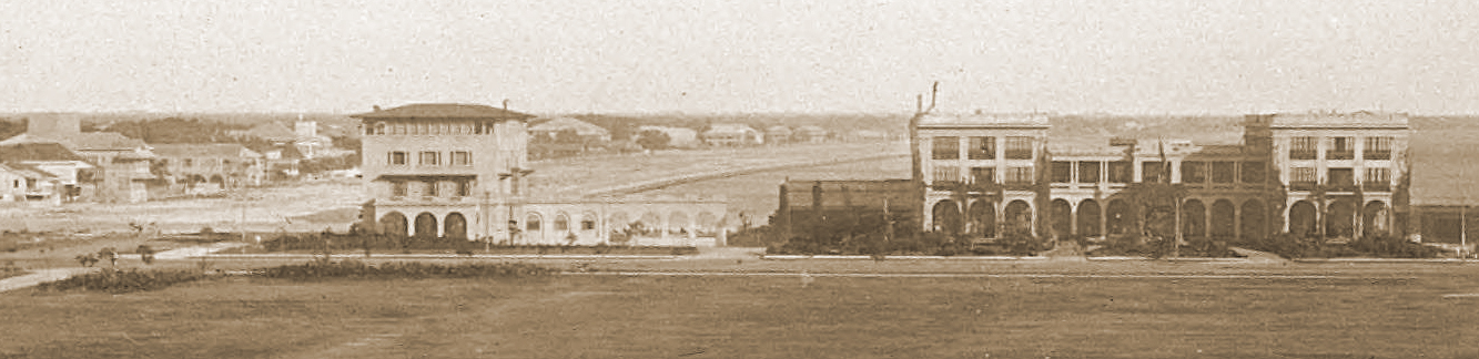 The Elks Club and Army Navy Club stand together on a barren Luneta extension 1905 (courtesy J.Tewell)