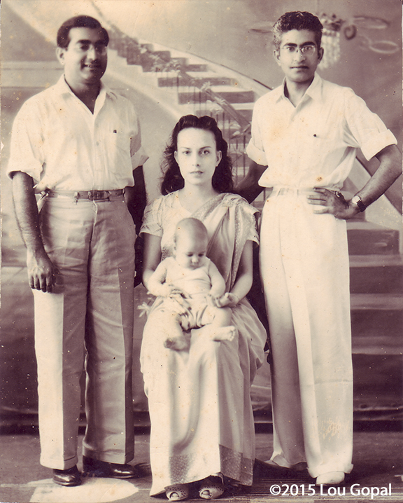 Bhagwan Sehwani, Carlota, and Gopal and little Prem (Lou)-1945