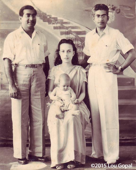 Bhagwan Sehwani, Carlota, and Gopal and little Prem (Lou)-1945